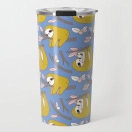 Sloth pattern in blue Travel Mug