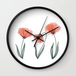 Spring Flower Trio Peach  Wall Clock