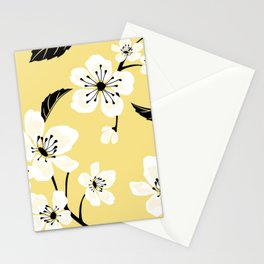 Light Pastel Yellow & White Sakura Cherry Tree Flower Blooms - Aloha - Hawaiian Floral Pattern Stationery Cards