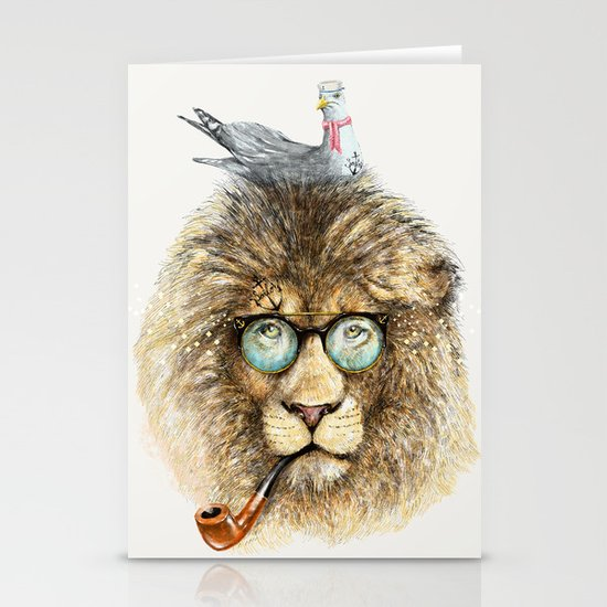 Lion sailor & seagull Stationery Cards