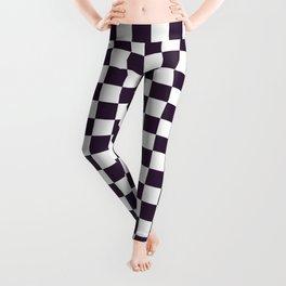 Small Checkered - White and Dark Purple Leggings
