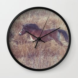 brown horse running in the fields Wall Clock