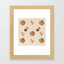 watercolor coffee beans , cupcakes and chocolate Framed Art Print