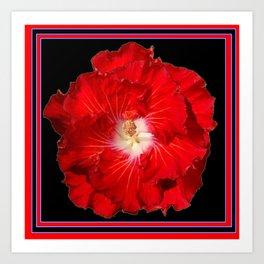 Tropical Red Hibiscus Flower on Black Art Print