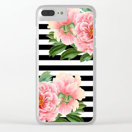 Pink Peonies Black Stripes Clear iPhone Case