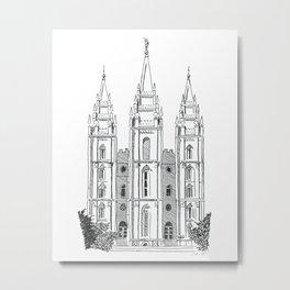 Salt Lake LDS Temple Ink Drawing Metal Print
