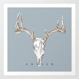 Antler Skull on Blue by Ron Brick Art Print
