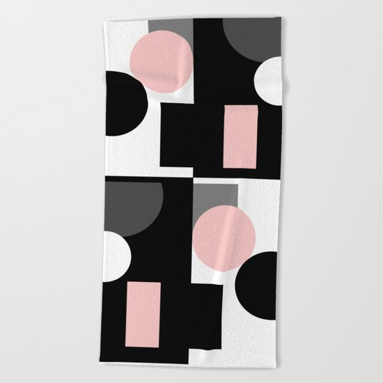 An abstract geometric pattern . Geometric shapes . Black pink white pattern . Beach Towel
