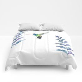 Hummingbird with tropical leaves watercolor design Comforters