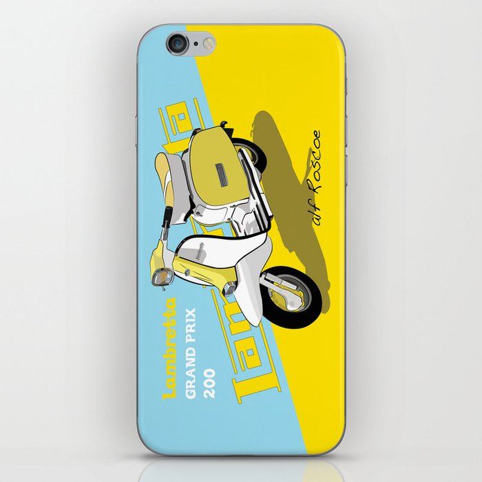 YELLOW & BLUE LAMBRETTA SCOOTER iPhone Skin