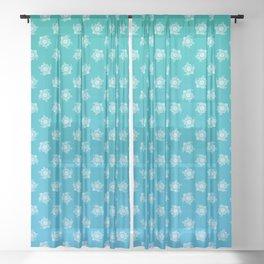 Mandala Turtle Pattern Teal Sheer Curtain