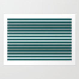 BM 2019 Trending Color Beau Green 2054-20 & COY 2019 Metropolitan Double Bold Horizontal Stripes Art Print