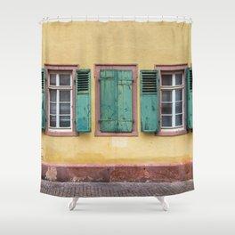 Green Shutters On Heidelberg House Shower Curtain
