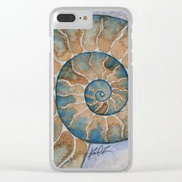 Ammonite fossil watercolor painting Clear iPhone Case