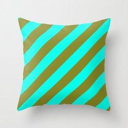 Cyan Blue And Army Khaki Green Stripes Throw Pillow