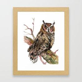Owl in the woods, brown owl illustration Framed Art Print