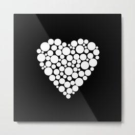 Simple black and white pattern .heart black polka dots .  2 Metal Print