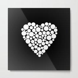 Simple black and white pattern .heart black polka dots .  2 Metal Print