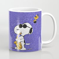 snoopy Mugs featuring Snoopy by DisPrints