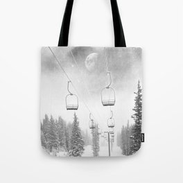 Ski Lift Moon Break // Riding the Mountain at Copper Colorado Luna Sky Peeking Foggy Clouds Tote Bag