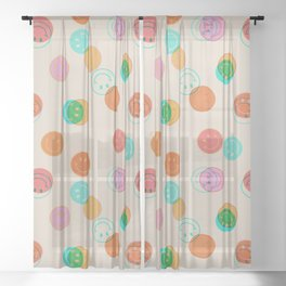 Smiley Face Stamp Print Sheer Curtain