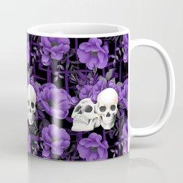 Purple Floral Skull Pattern Coffee Mug