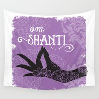 om Wall Tapestries featuring Om Shanti by Sweet Mango