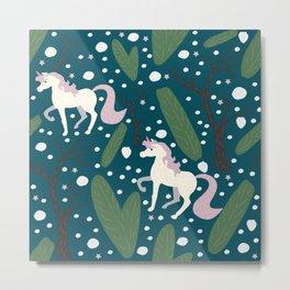 Unicorn Seamless Pattern Metal Print