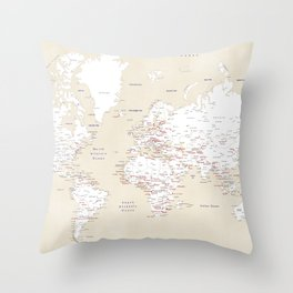 "Cream, white, red and navy blue world map, ""Deuce"" Throw Pillow"