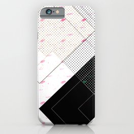 Contemporary Geometric Pink, Black & Beige Home Goods Pattern iPhone Case