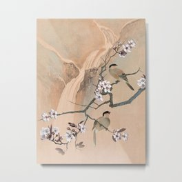 Cherry Tree And Two Birds Metal Print