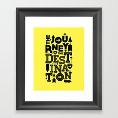 Yellow Journey Quote Framed Art Print