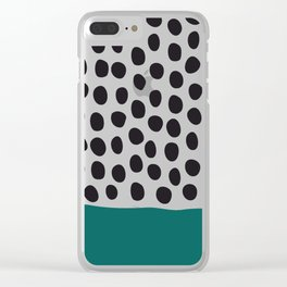 "Elegant Handpainted Polka Dots with ""Shaded Spruce"", Fall, Autumn Color Clear iPhone Case"
