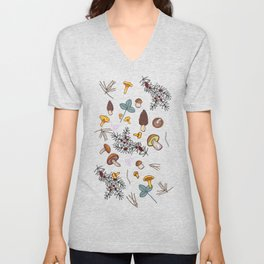 dark wild forest mushrooms Unisex V-Neck