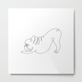 One line Frenchie Downward Dog Metal Print