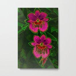 Hot Pink Tropic Orchids Metal Print
