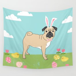 Pug easter dog breed pet pattern rescue dog pugs lovers spring easter eggs Wall Tapestry