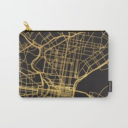 PHILADELPHIA PENNSYLVANIA GOLD ON BLACK CITY MAP Carry-All Pouch