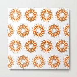 Tangerine Modern Sunbursts Metal Print