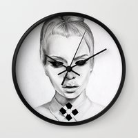 mod Wall Clocks featuring mod  by Anna Gibson