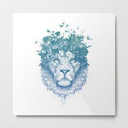 Floral lion Metal Print