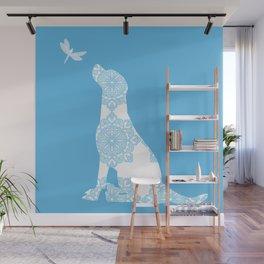 Labrador Retreiver Dog On Blue Colour Wall Mural