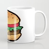 burger Mugs featuring Burger by CGREDNECK