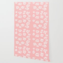 WHITE BLOSSOMS ON ROSE PINK Wallpaper