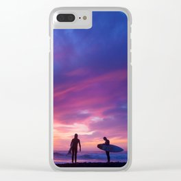 Surfer's Sunset Clear iPhone Case