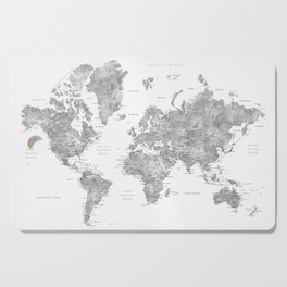 Grayscale watercolor world map with cities Cutting Board