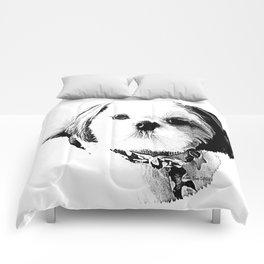 Shih Tzu In Black And White By Annie Zeno Comforters