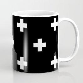 Swiss cross pattern white on black Coffee Mug