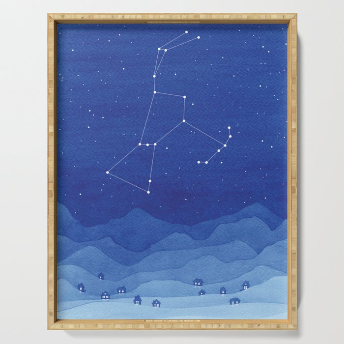Orion Constellation, mountains Serving Tray