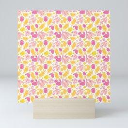 Cute Pink and Yellow Floral Pattern with Australian Native Bottlebrush Flowers Mini Art Print